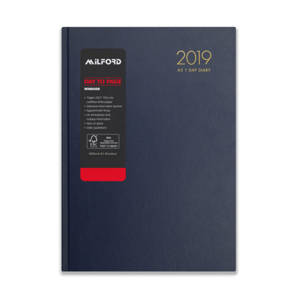 Milford 2019 A5 Daily Diary with Appts 441558-BLUE