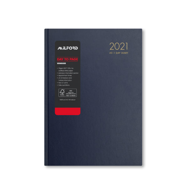 Milford 2021 A5 Daily Diary with Appts 441558-BLUE