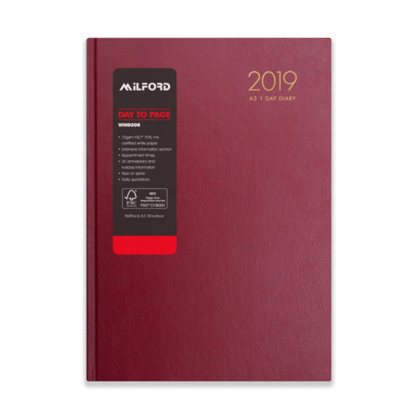 Milford 2019 A5 Daily Diary with Appts 441559-BUR