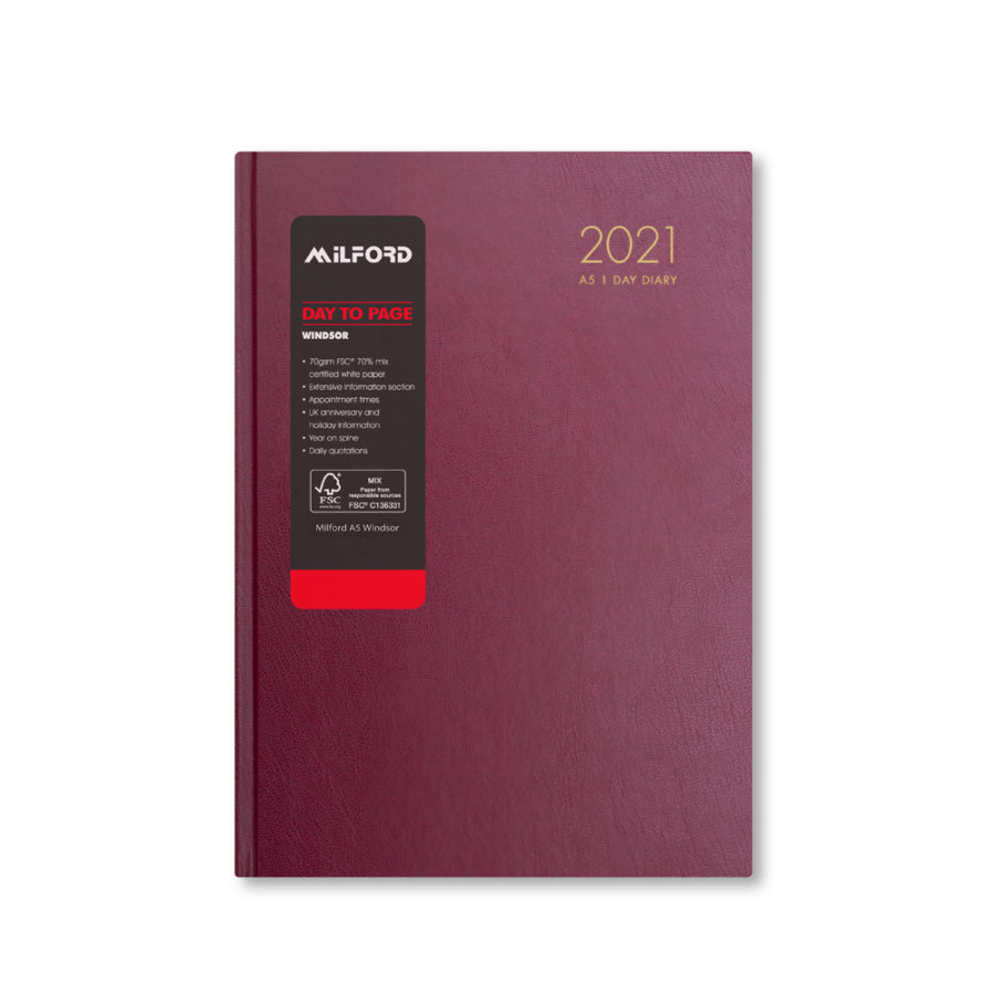2021 A5 Diary Milford Red