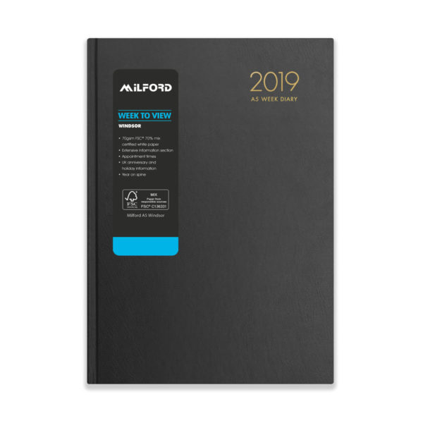 Milford 2019 A5 Weekly Diary with Appts 441560-BLK
