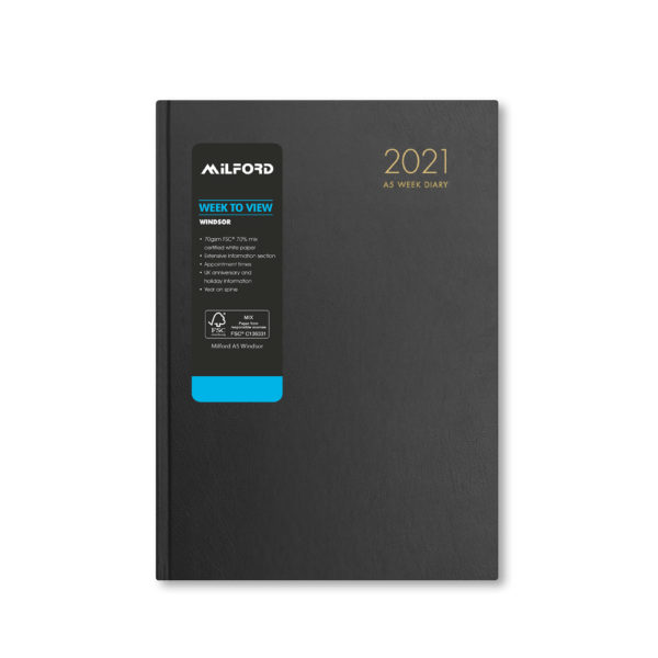 Milford 2021 A5 Weekly Diary with Appts 441560-BLK