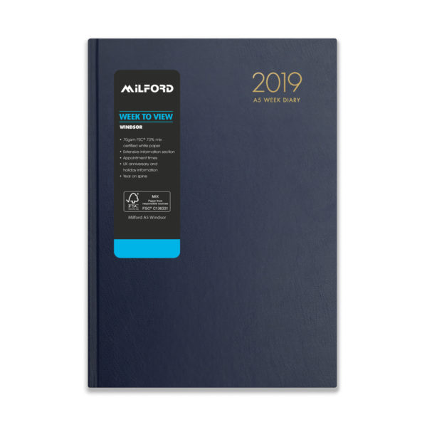 Milford 2019 A5 Weekly Diary with Appts 441561-BLUE