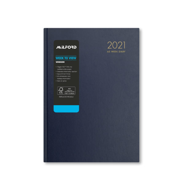 Milford 2021 A5 Weekly Diary with Appts 441561-BLUE