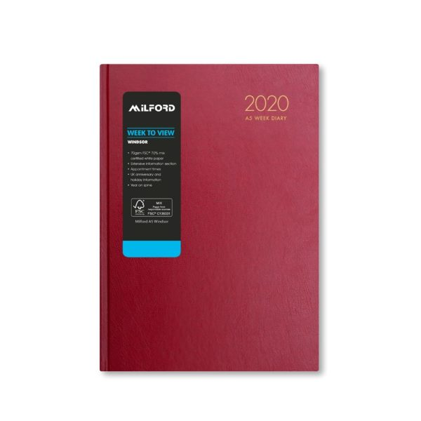 Milford 2020 A5 Weekly Diary with Appts 441562-BUR