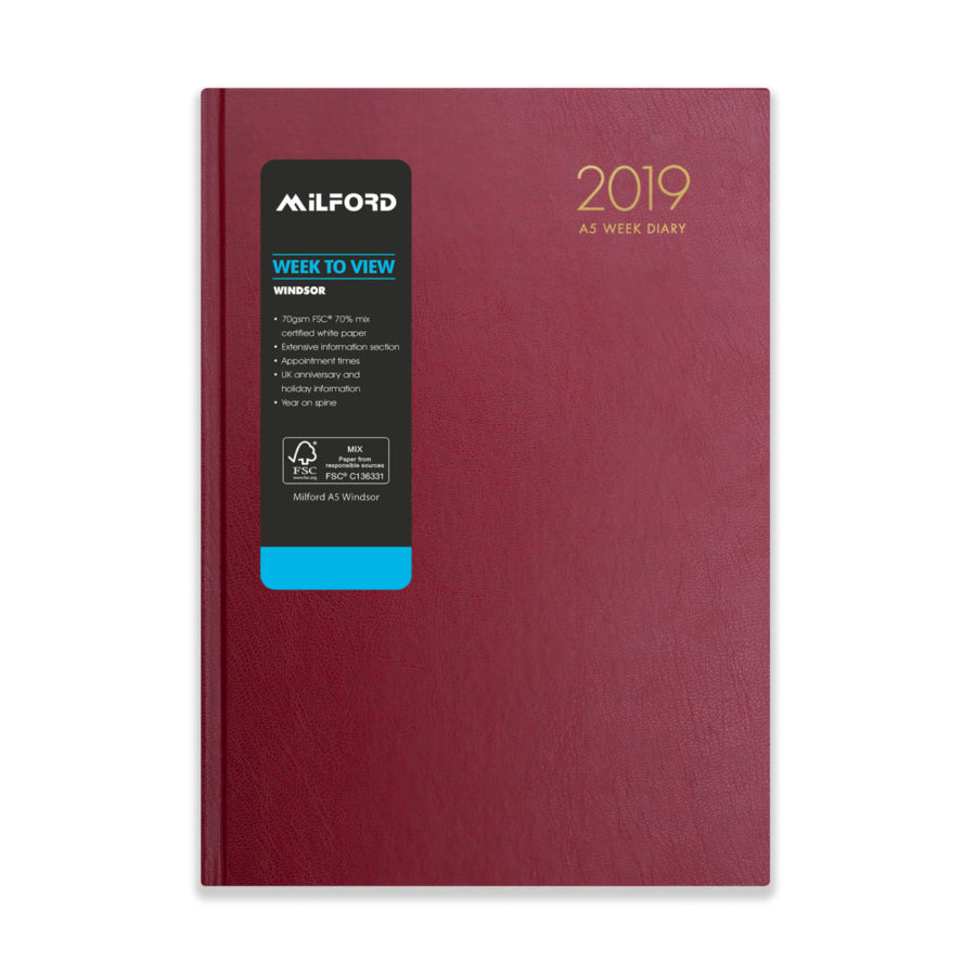 A5 diary 2019 red