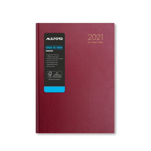 Milford 2021 A5 Weekly Diary with Appts 441562-BUR