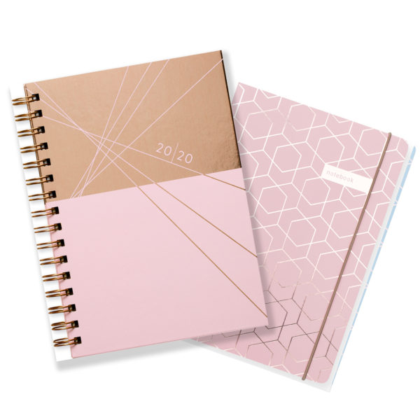 Matilda Myres 2020 Rose Gold Weekly Diary & Notebook Gift Set – Pink