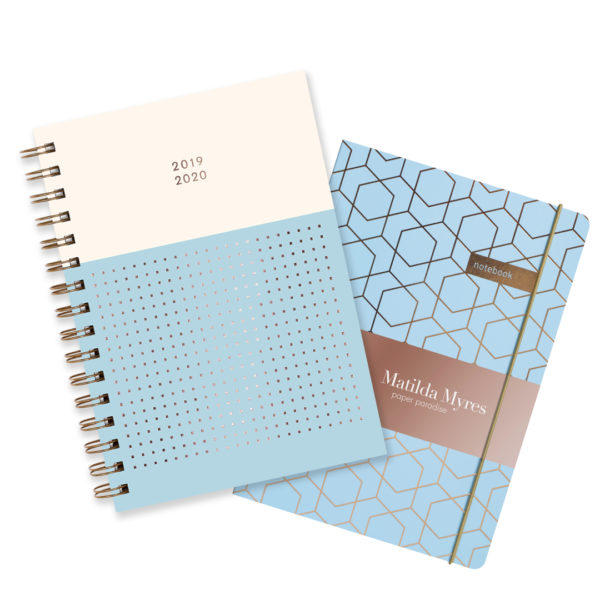 Matilda Myres 2019-20 Rose Gold Mid Year Diary & Notebook – Blue