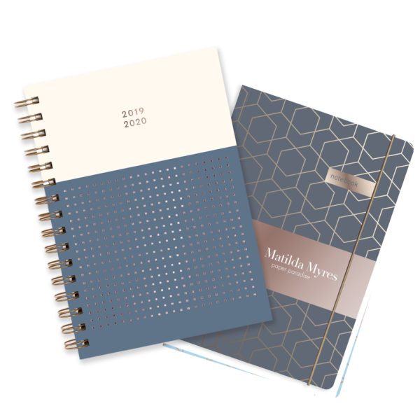 Matilda Myres 2019-20 Rose Gold Mid Year Diary & Notebook – Grey
