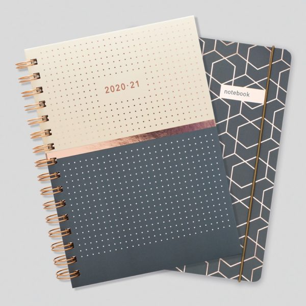 Matilda Myres 2020-21 Rose Gold Mid Year Diary & Notebook – Grey