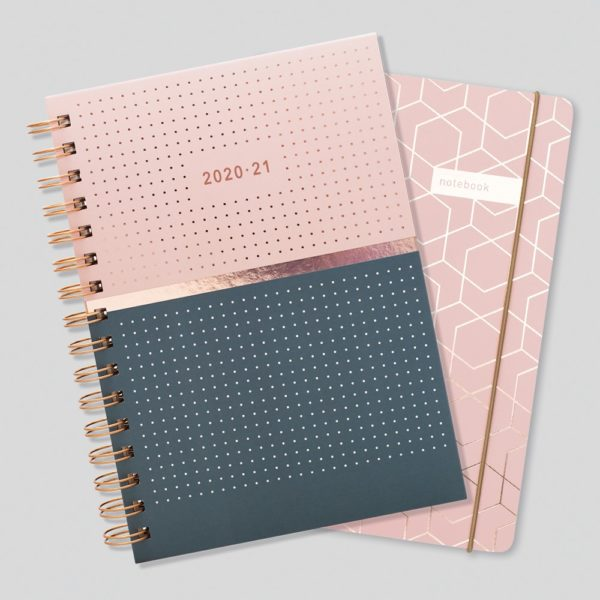 Matilda Myres 2020-21 Rose Gold Weekly Mid Year Diary & Notebook – Pink
