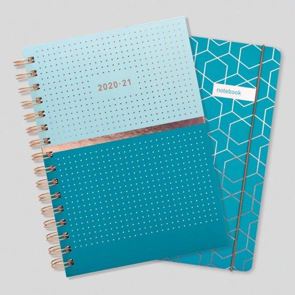Matilda Myres 2020-21 Rose Gold Mid Year Diary & Notebook – Teal
