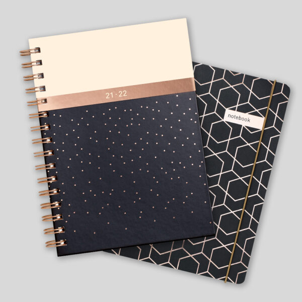 Matilda Myres 2021-22 Rose Gold Mid Year Diary & Notebook – Black