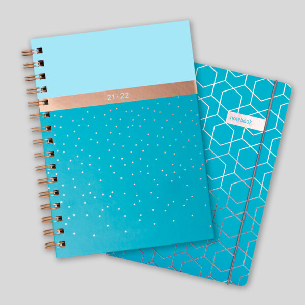Matilda Myres 2021-22 Rose Gold Mid Year Diary & Notebook – Teal