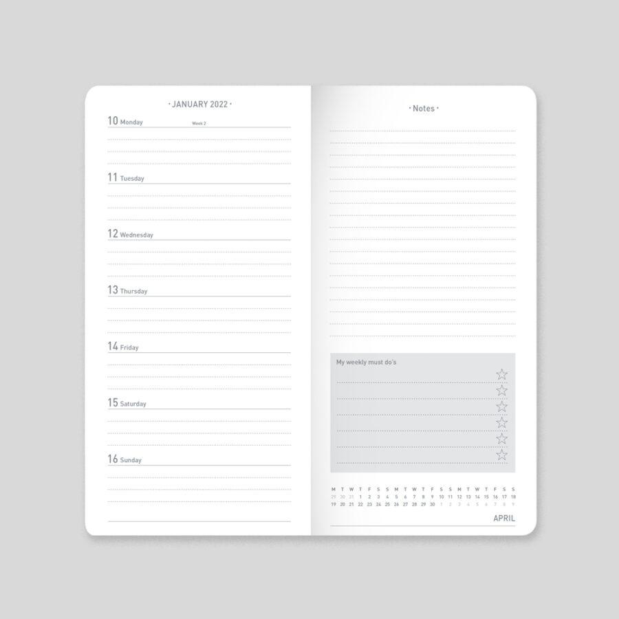 2022 Diary Slim Week - Layout