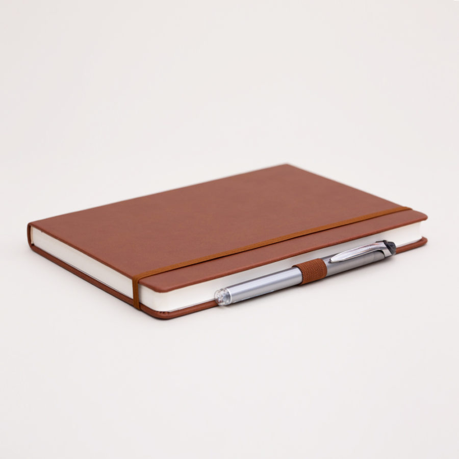 A5 lined notebook brown