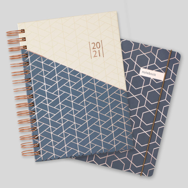 Matilda Myres 2021 Rose Gold A5 Daily Diary & Notebook Set – Grey