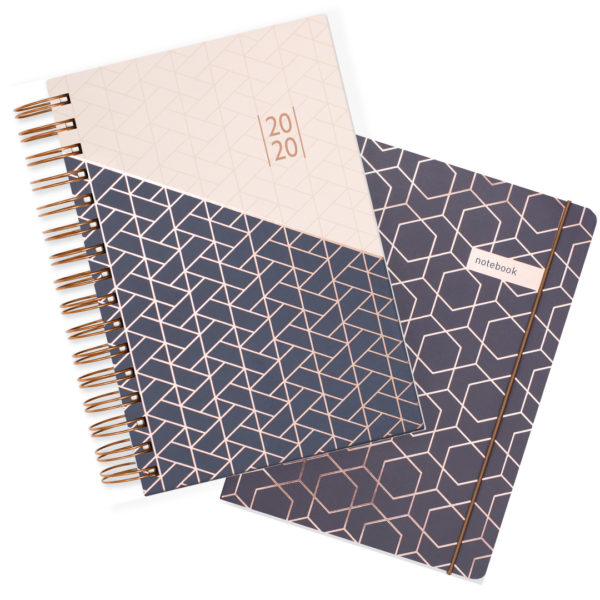 Matilda Myres 2020 Rose Gold Wiro A5 Daily Mid Year Diary & Notebook Set – Grey
