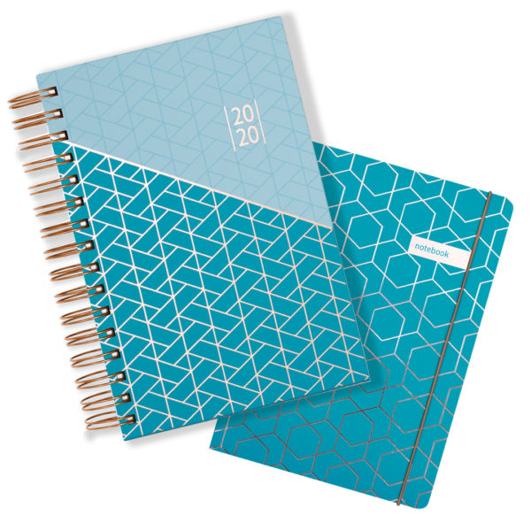 Matilda Myres 2020 Rose Gold Wiro A5 Daily Mid Year Diary & Notebook Set – Teal