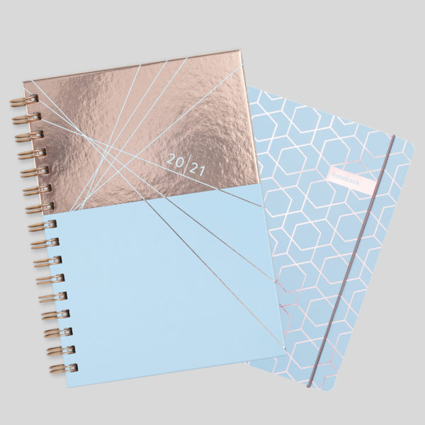 Matilda Myres 2021 Rose Gold Weekly Diary & Notebook Gift Set – Blue
