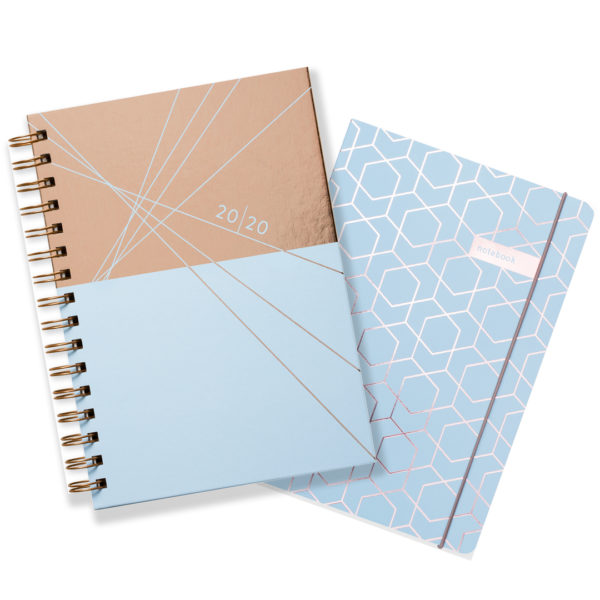 Matilda Myres 2020 Rose Gold Weekly Diary & Notebook Gift Set – Blue