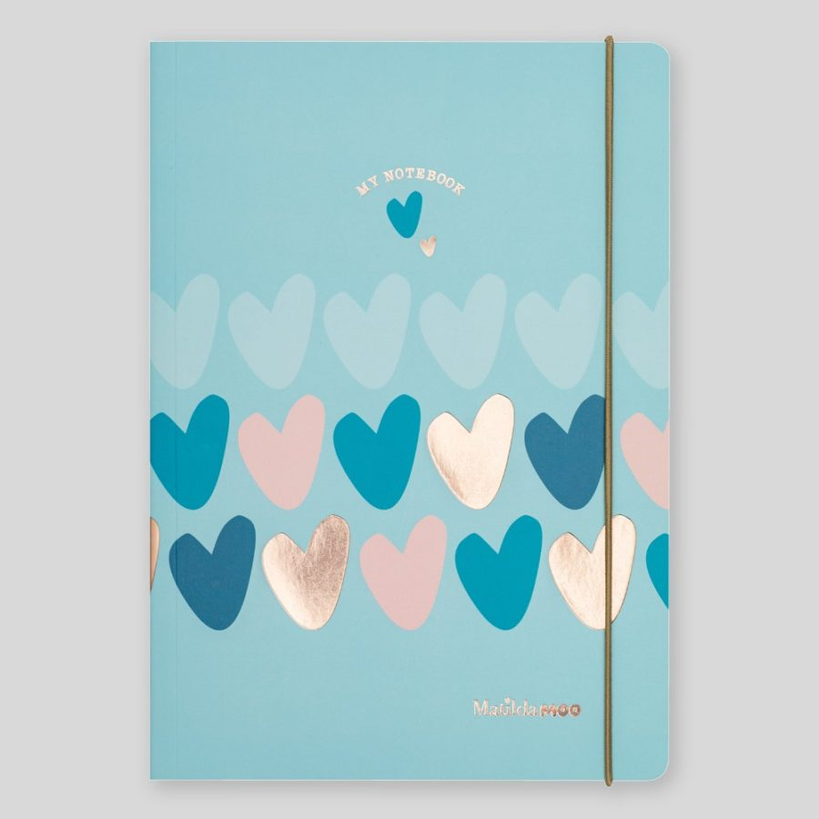 Matilda Moo A5 Notebook Hearts Blue