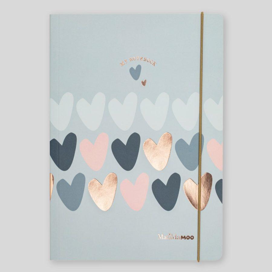 Matilda Moo A5 Notebook Hearts Grey