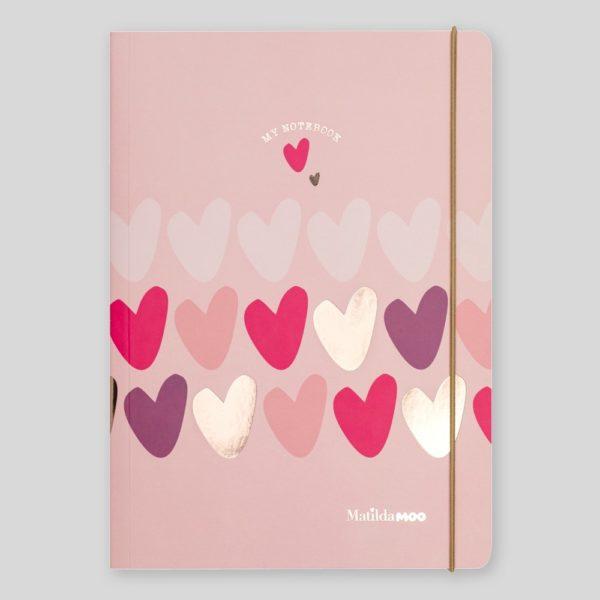 Matilda Moo A5 Notebook Hearts Pink