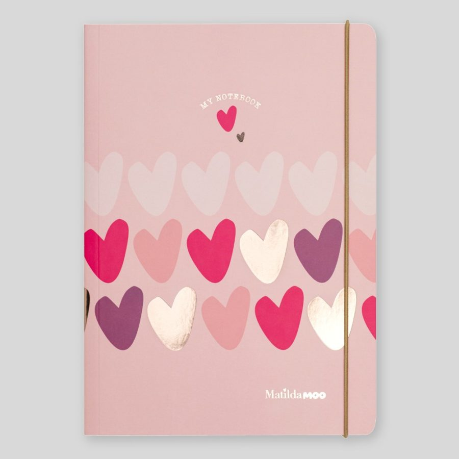 Matilda Moo A5 Notebook Hearts Pink