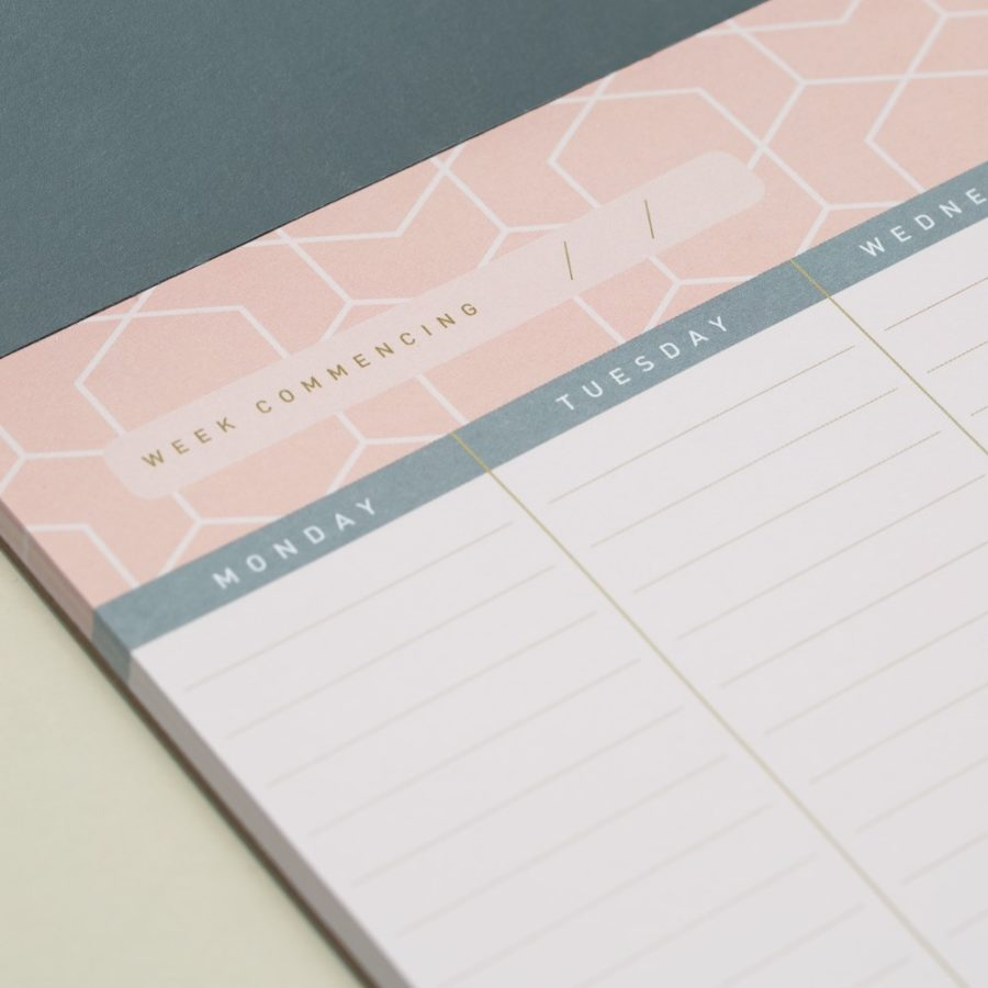 A4 desk pads weekly