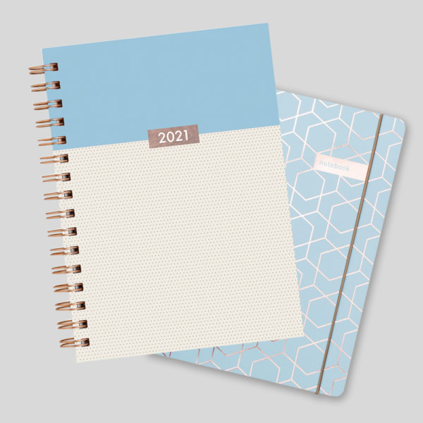 Matilda Myres 2021 Rose Gold Dots Weekly Diary & Notebook Gift Set – Blue