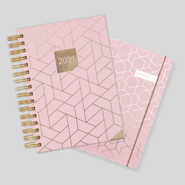 Matilda Myres 2021 Rose Gold Wiro A5 Daily Mid Year Diary & Notebook Set – Pink