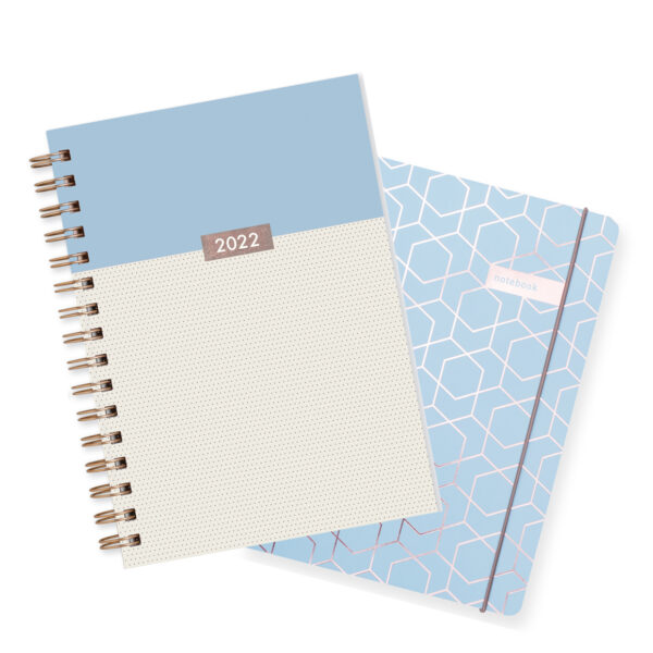 Matilda Myres 2022 Rose Gold Dots Weekly Diary & Notebook Gift Set – Blue