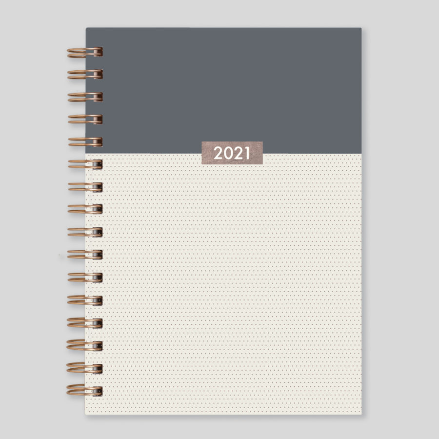 2021 Diary Week to View Diary Rose Gold Wiro - Matilda Myres Grey