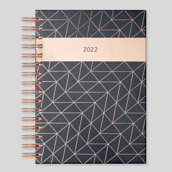 Matilda Myres 2022 Rose Gold Wiro A5 Daily Diary – Black – MY115-02D-NEW