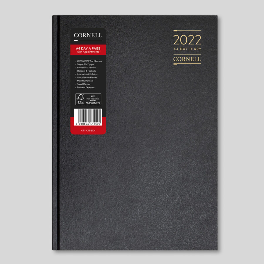 2022 Desk Diary from CORNELL - A4 Daily Black