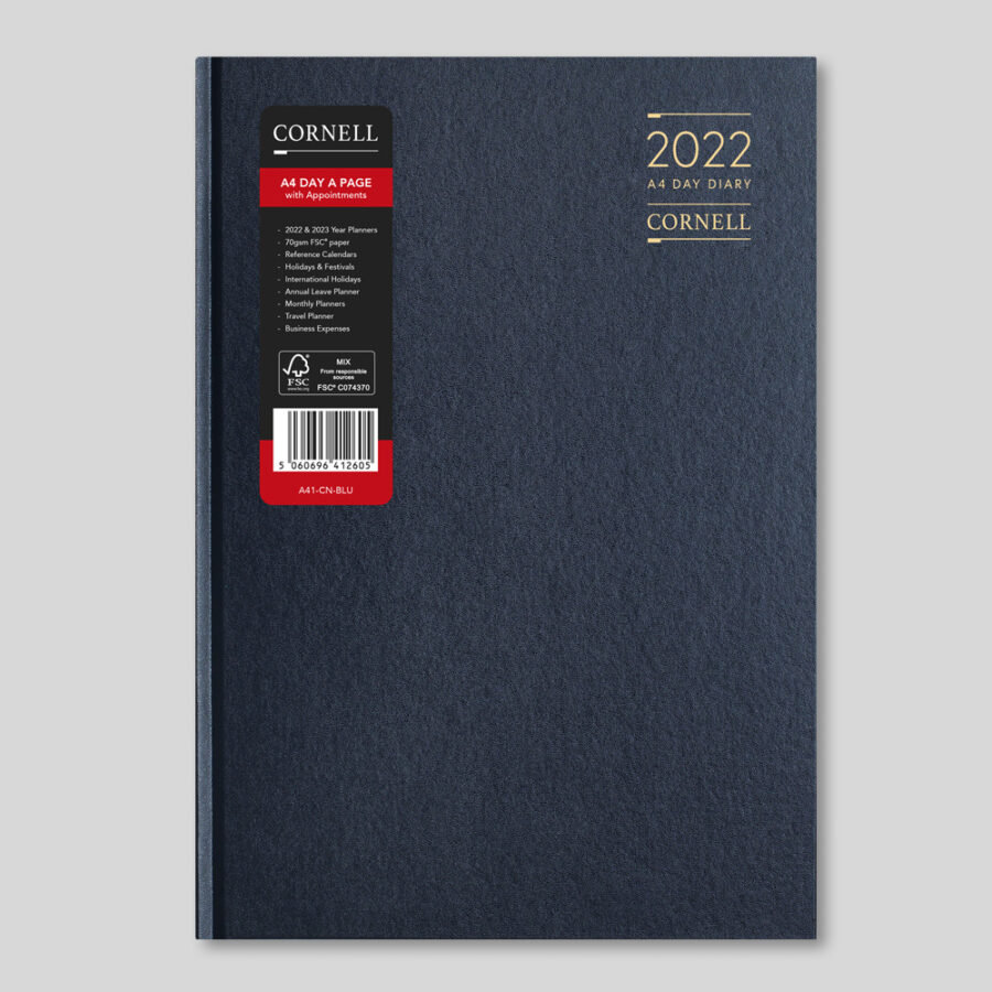 2022 Desk Diary from CORNELL - A4 Daily Blue