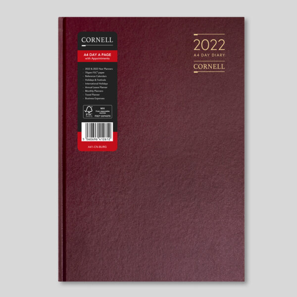 CORNELL 2022 A4 Daily Diary with Appts – Burgundy