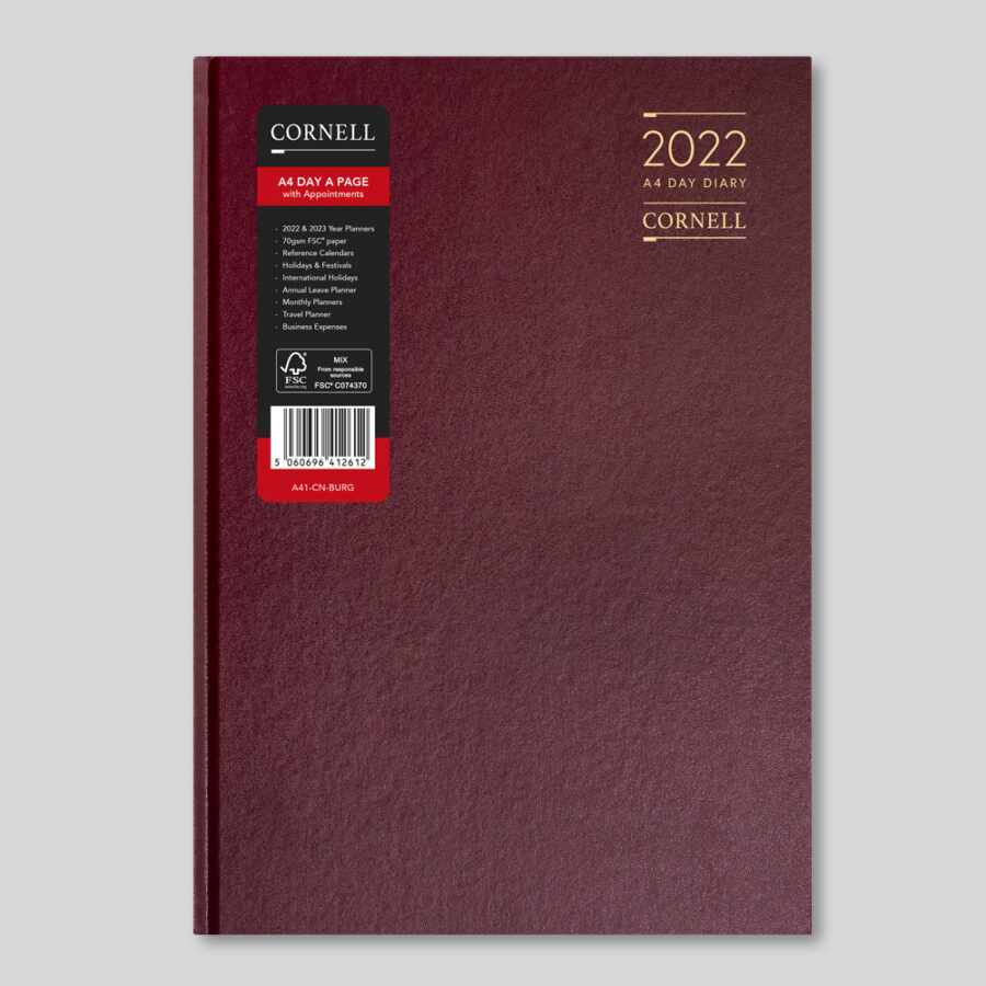 2022 Desk Diary from CORNELL - A4 Daily Burgundy