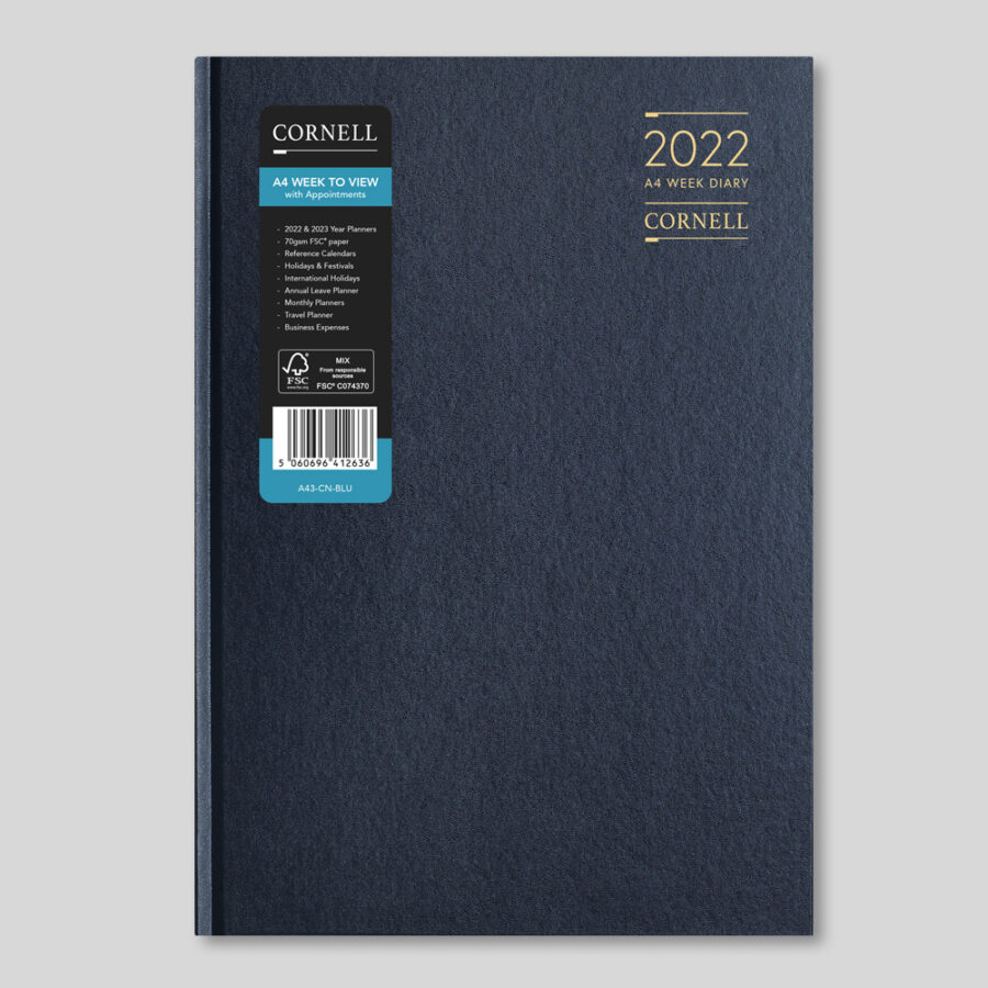 2022 Desk Diary from CORNELL - A4 Week Blue