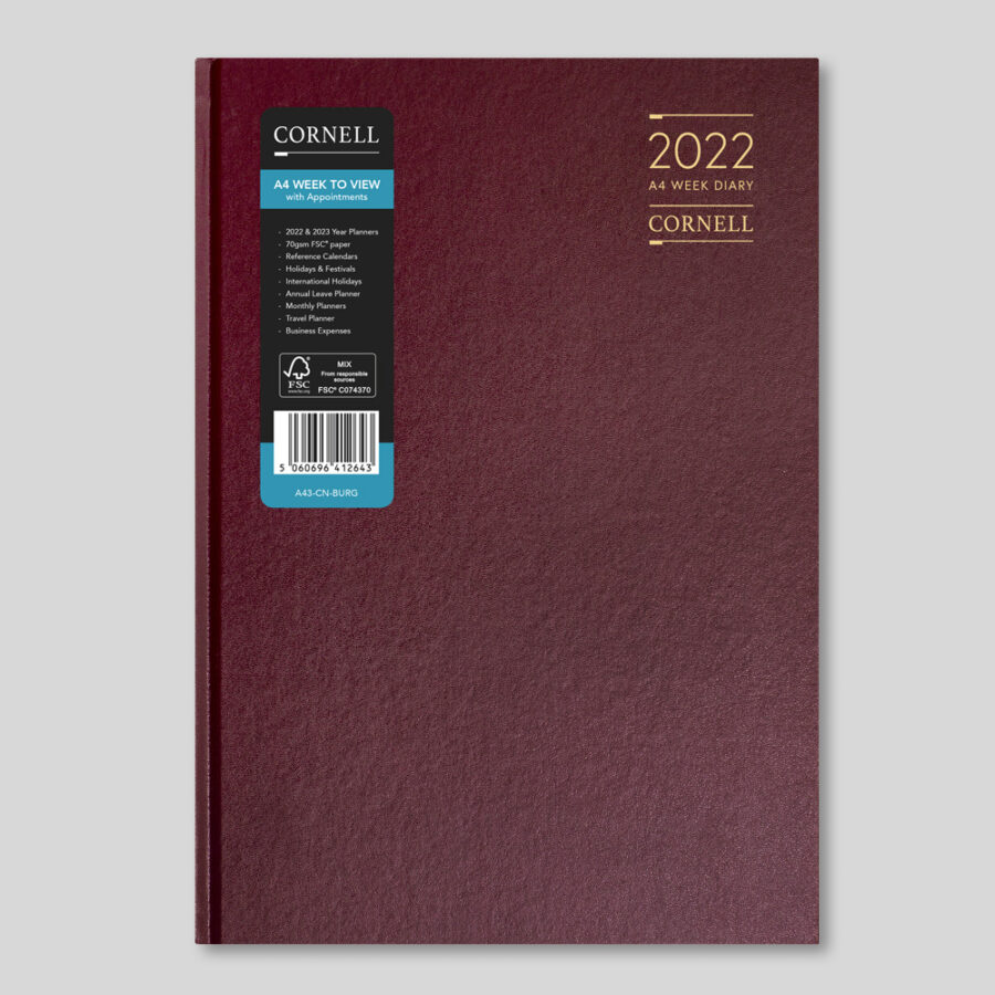 2022 Desk Diary from CORNELL - A4 Week Burgundy