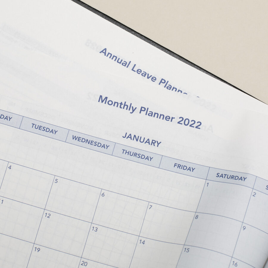 2022 Diary Monthly Planner - A4 Daily Black