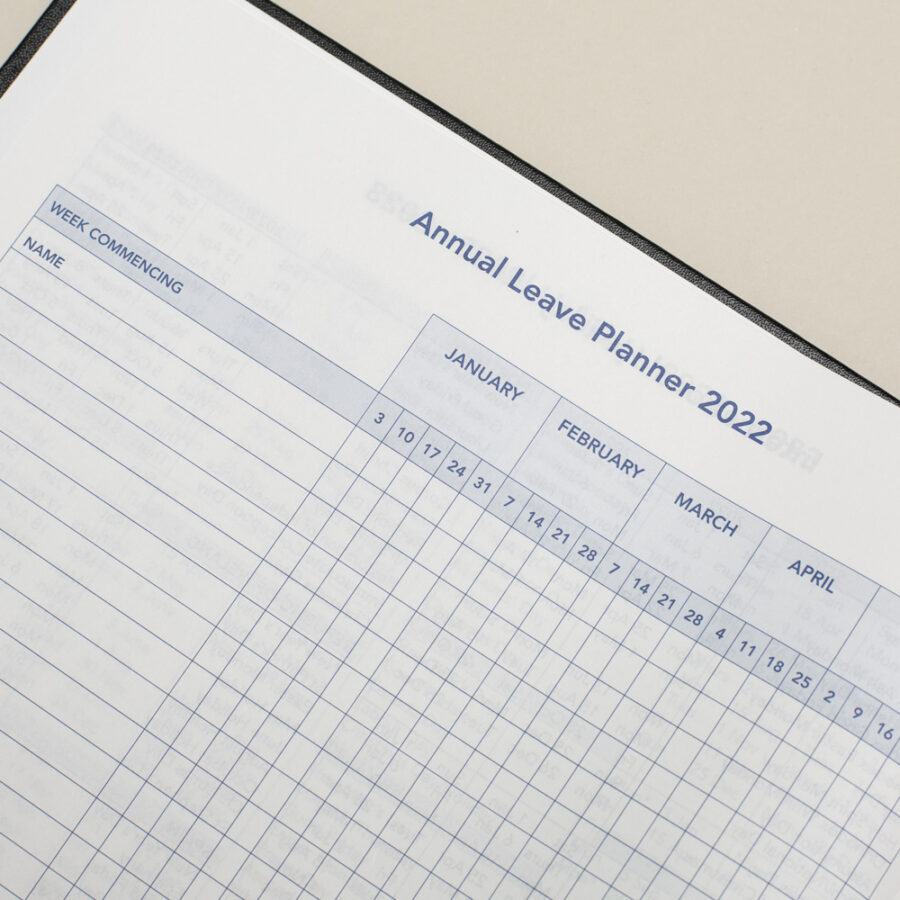 2022 Diary Annual Leave - A4 Daily Black