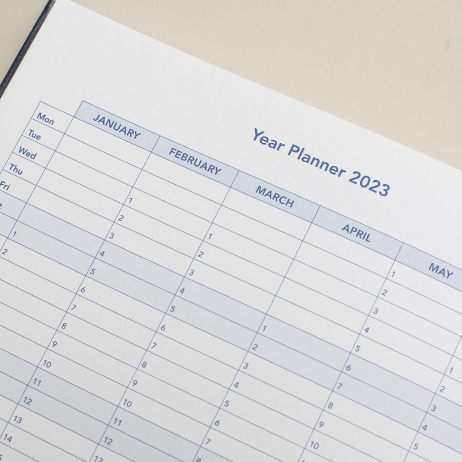 2022 Diary Yearly Planner - A4 Daily Blue