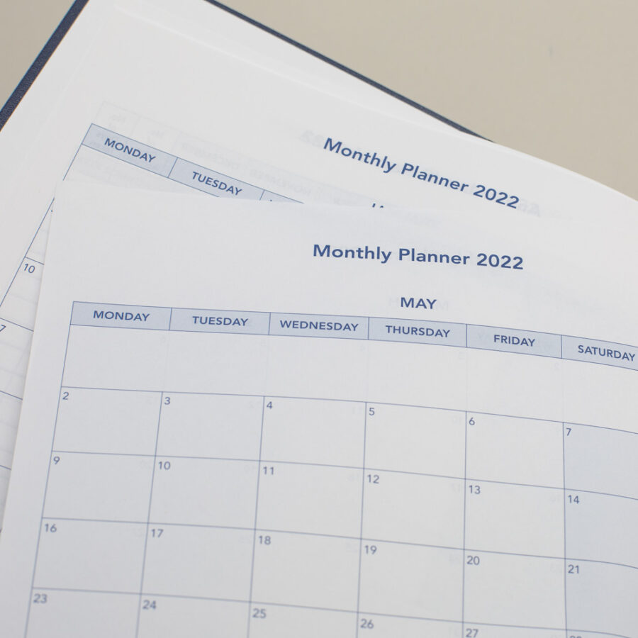 2022 Diary Monthly Planner - A4 Daily Blue