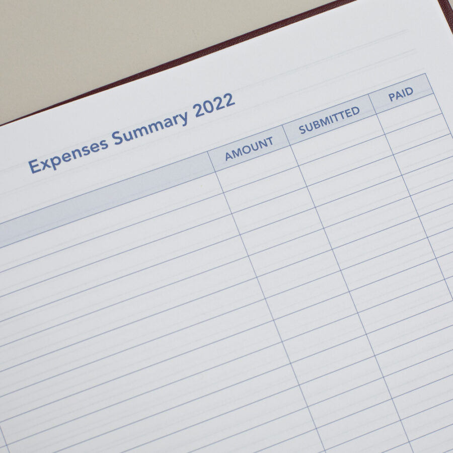 2022 Diary Expenses Planner - A4 Daily Burgundy