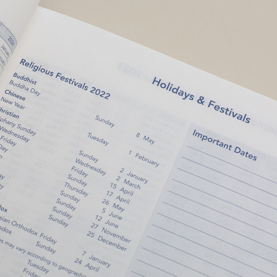 2022 Diary Holidays and Festivals - A4 Daily Red