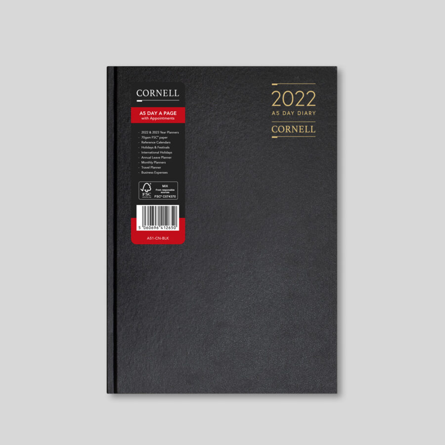 2022 Desk Diary from CORNELL - A5 Daily Black