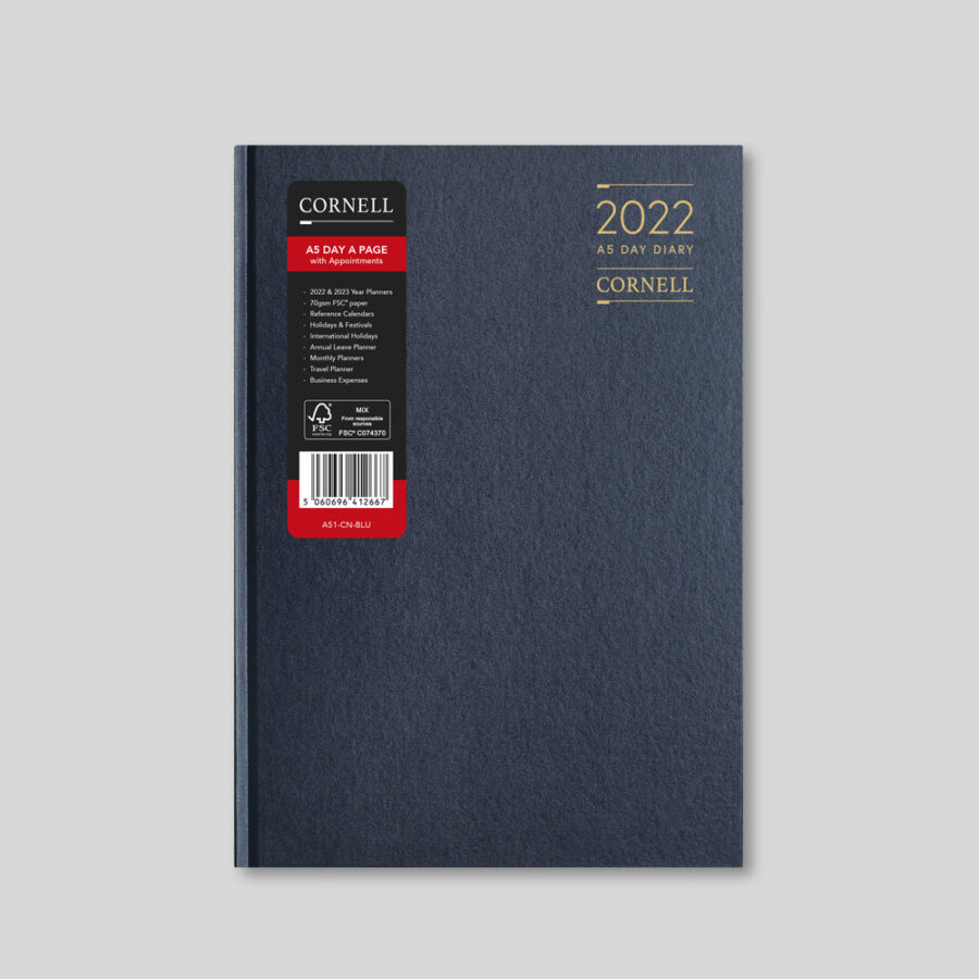 2022 Desk Diary from CORNELL - A5 Daily Blue